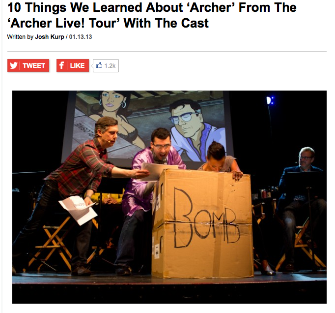 Uproxx: 10 Things We Learned About 'Archer' From the 'Archer Live! Tour' With The Cast