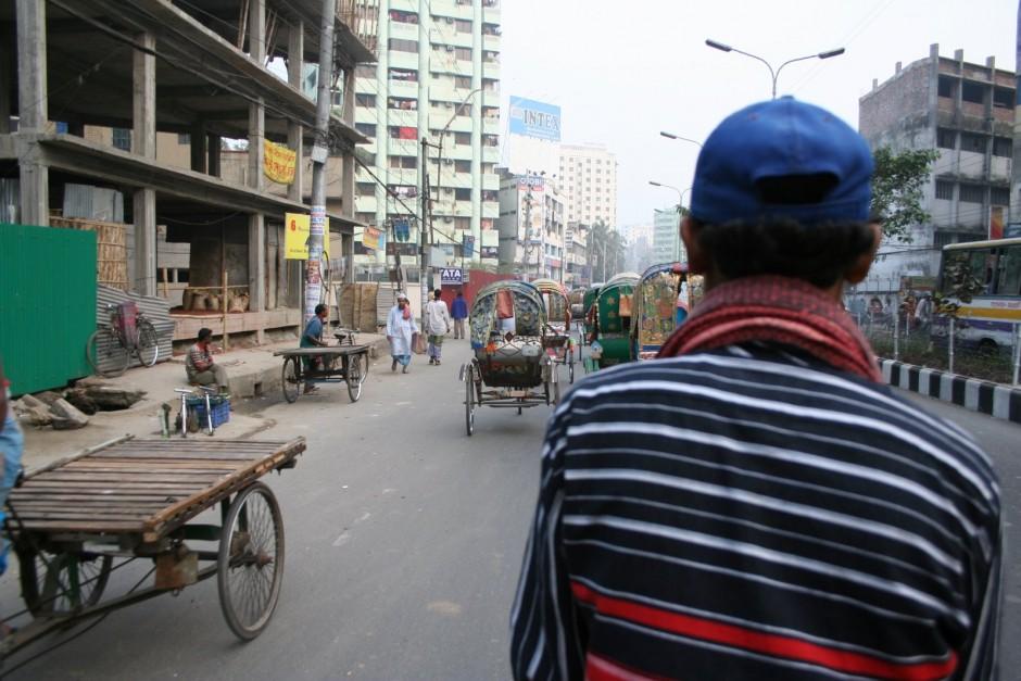 Riding a Rickshaw