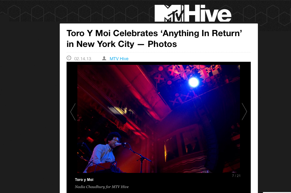 MTV Hive: Toro Y Moi Celebrates 'Anything in Return' in New York City