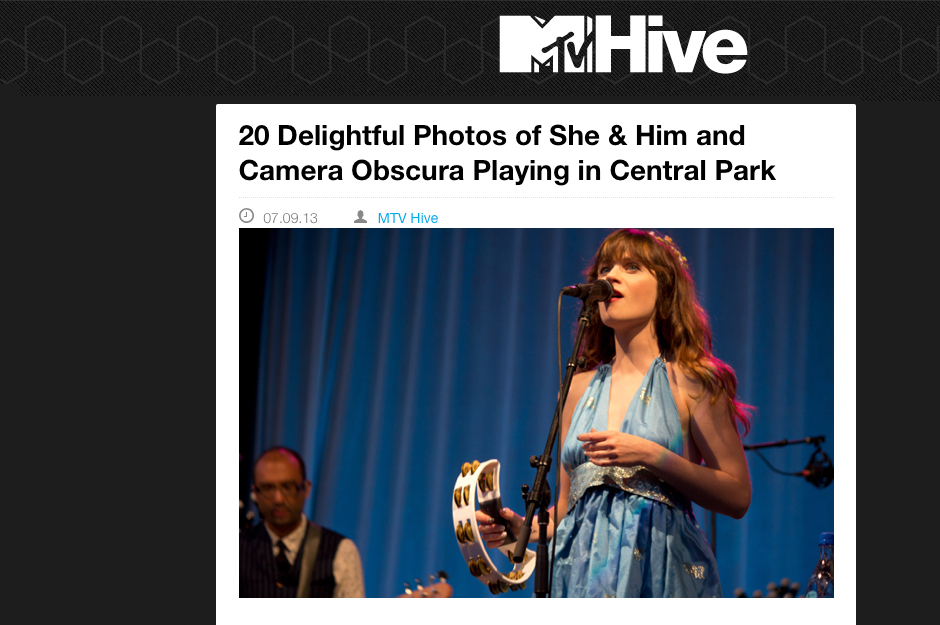 MTV Hive: 20 Delightful Photos of She & Him and Camera Obscura Playing in Central Park