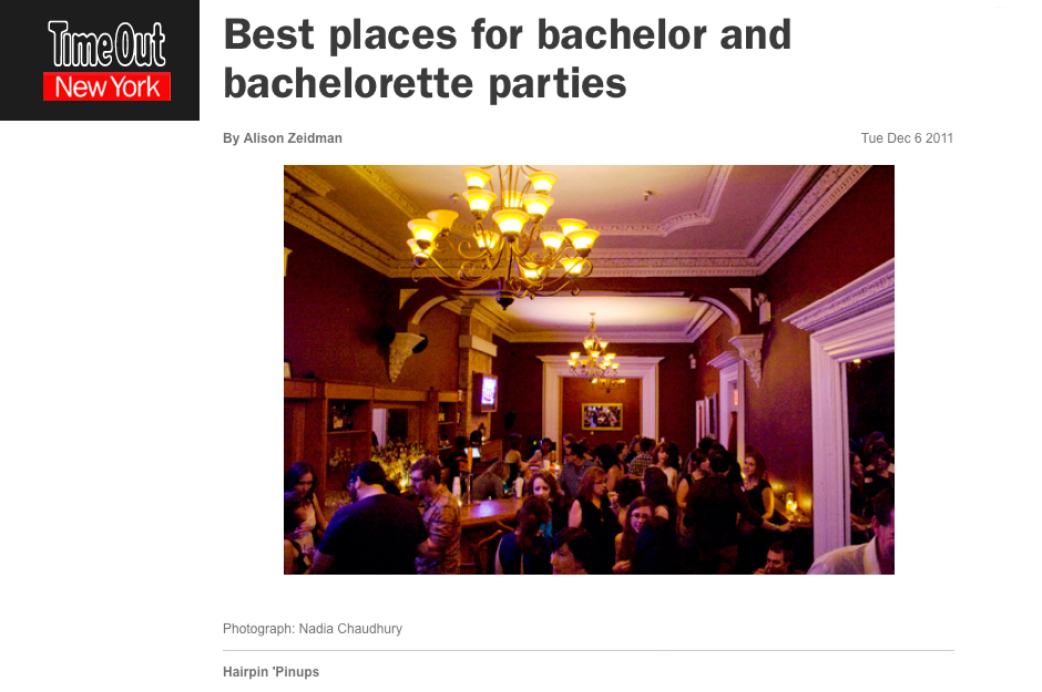 Time Out New York:  Best places for bachelor and bachelorette parties
