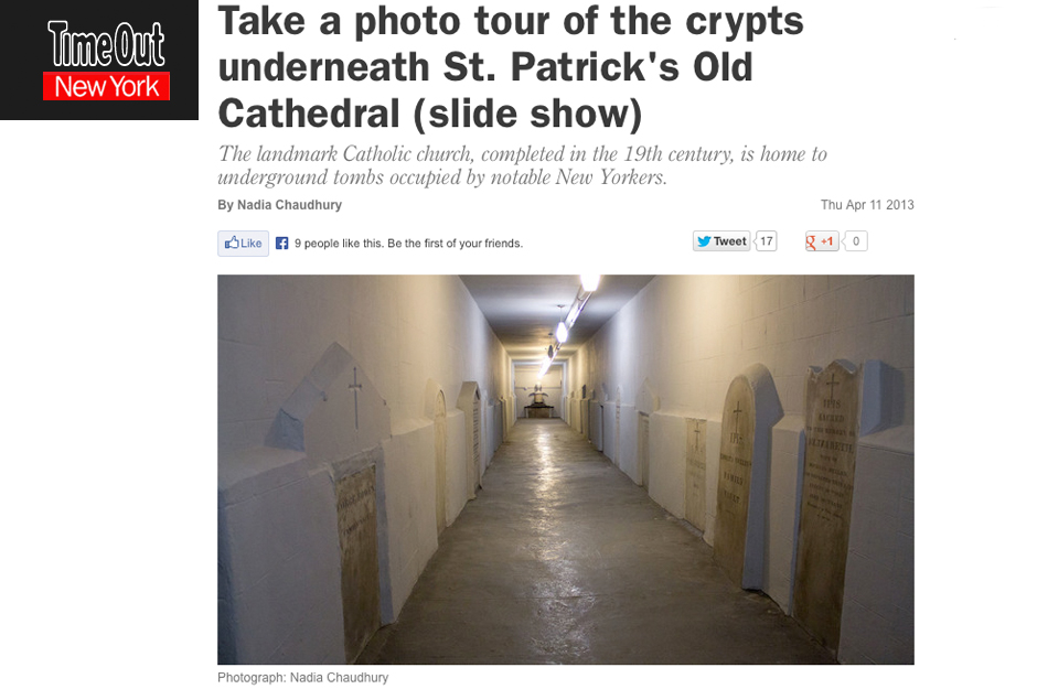 Time Out New York: Take a Photo Tour of the Crypts Underneath St. Patrick's Old Cathedral