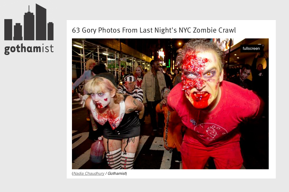 Gothamist: 63 Gory Photos From Last Night's NYC Zombie Crawl